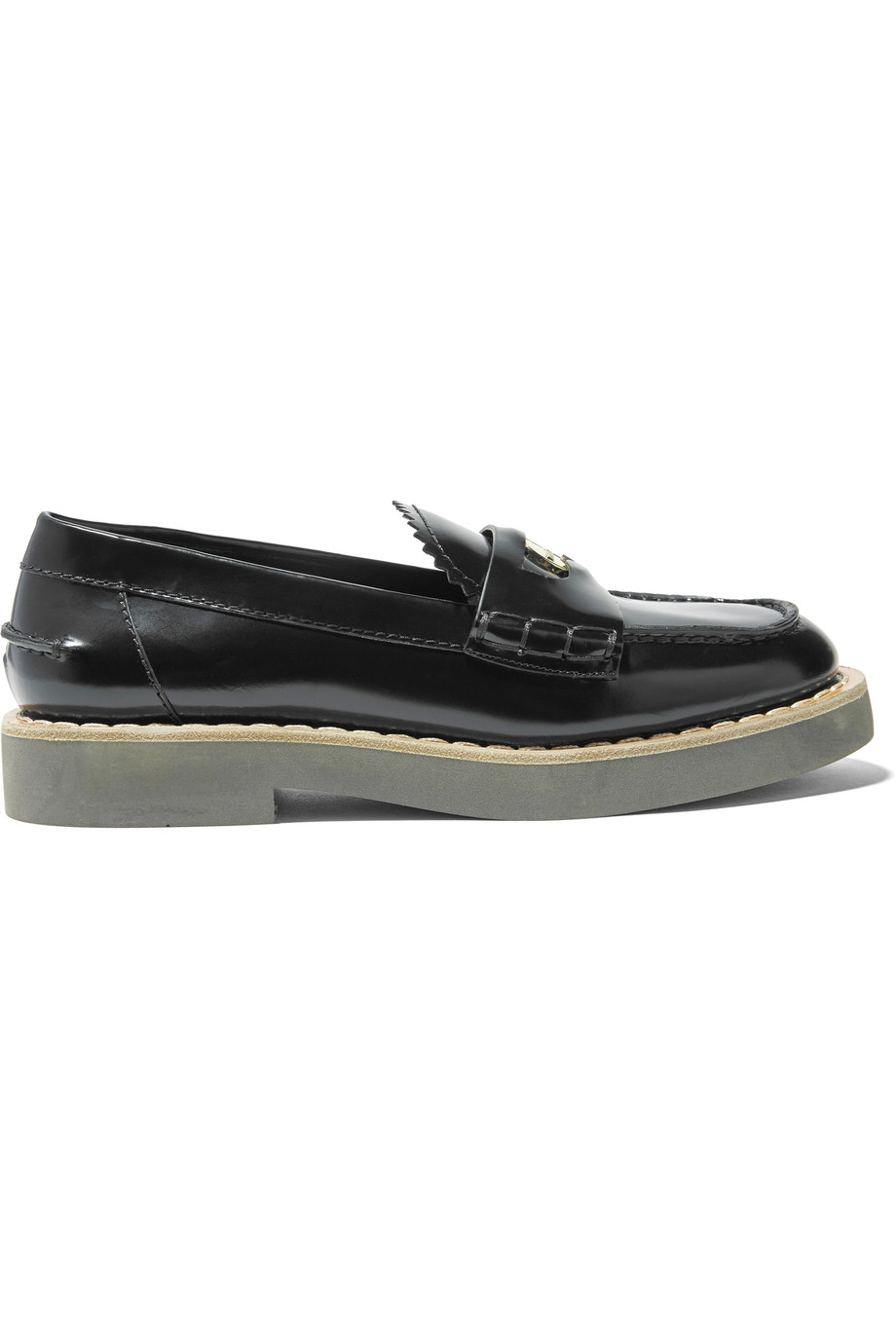 black miu miu loafers
