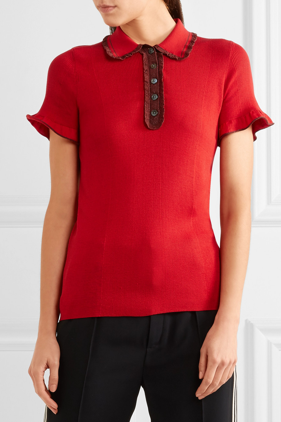 alexachung red ribbed polo