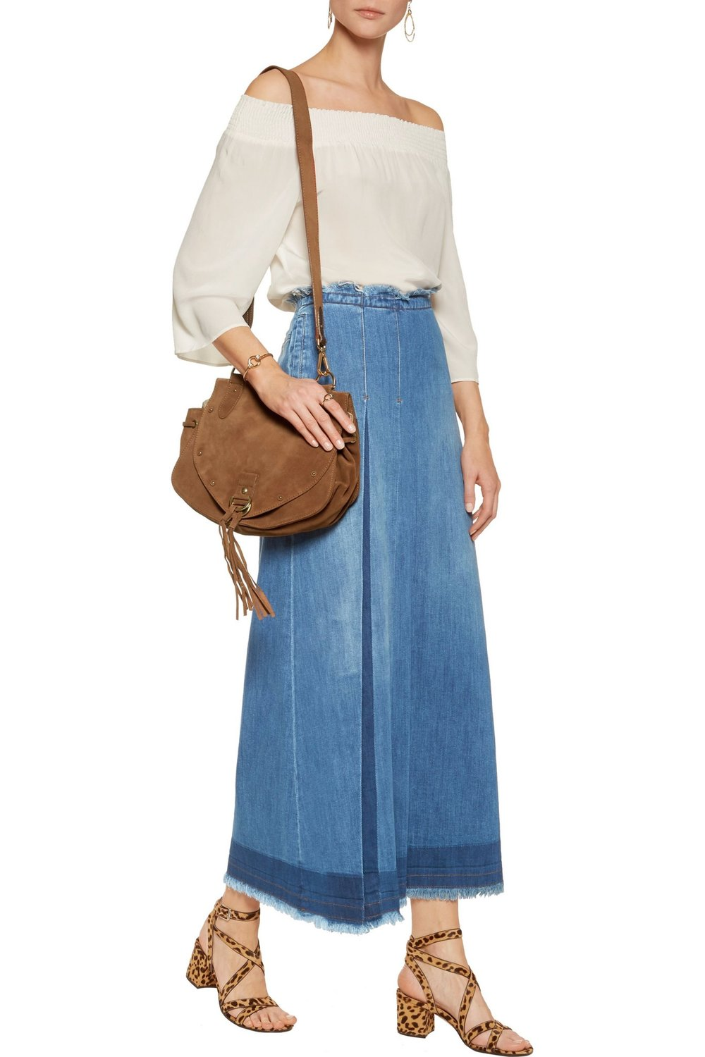 chloe denim maxi skirt