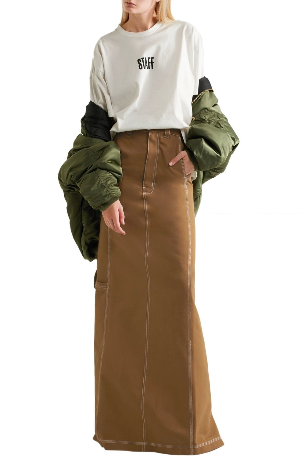 vetements carhartt denim maxi skirt