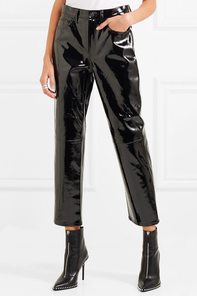 rag & bone patent leather straight leg pants