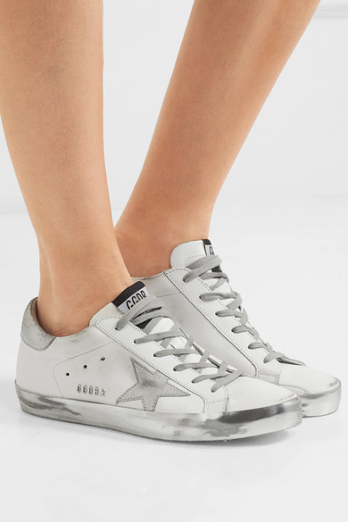 golden goose deluxe white and silver sneakers