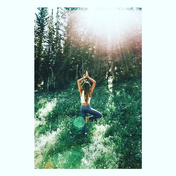 It doesn't get more connected to nature than drinking water from a tree after doing tree pose🌲 #säpplife