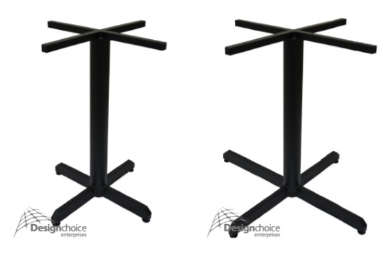 Cross   Dining Height  $100inc.GST completely assembled  Dining Large  $125inc.GST completely assembled  Fully welded light weight base with design choice pivoting adjustable feet