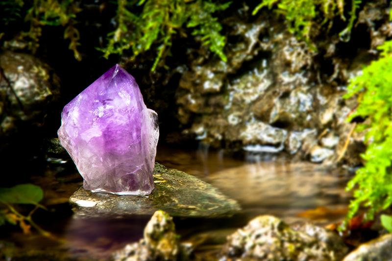 Amethyst Crystal in a stream in Byron Bay