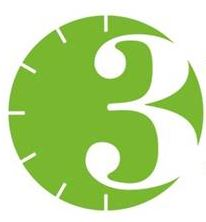 3MT logo. A green circle with a clock design and a large white three to the right hand side.