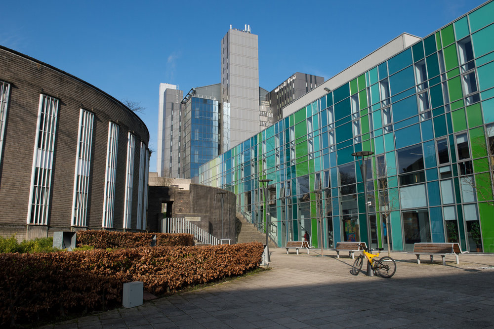 The Fraser Building with the UofG Library and Reading Rooms in the background