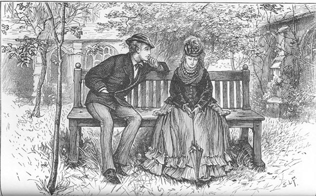 A drawn black and white picture depicting a scene from the  The Mystery of Edwin Drood .
