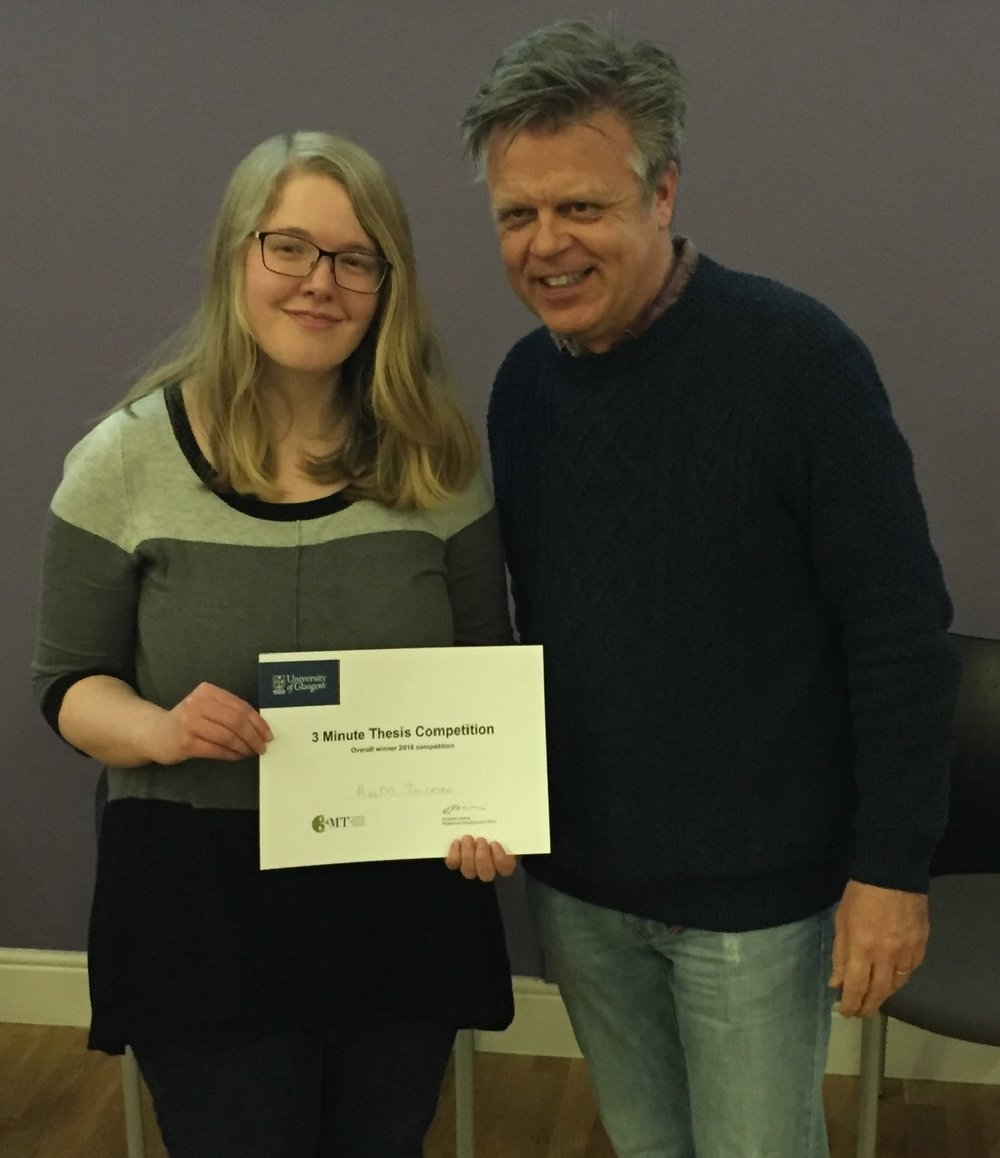 Ruth Turner, Winner of 3MThesis Humanities 2016, receiving her certificate