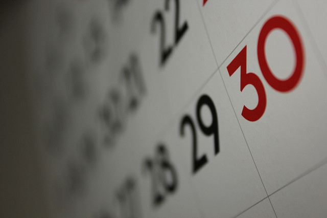 A close up image of a calendar showing the dates leading up to the 30th day.