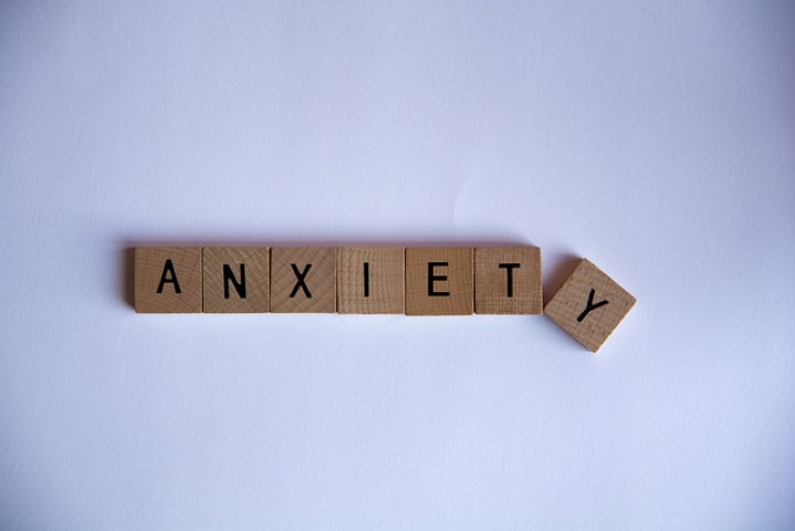 An image of text-tiles (possibly from Scrabble) spelling out the word Anxiety