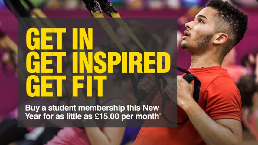 An advert for the University of Glasgow gym with the slogan 'Get in, get inspired, get fit'