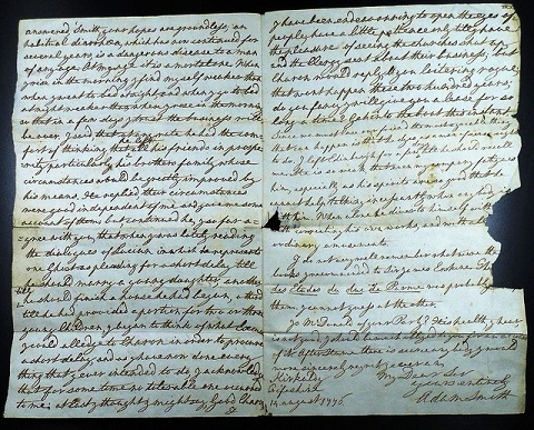 (MS Gen. 510/47. Letter to Alexander Wedderburn from Glasgow's Adam Smith, Kirkcaldy: 14 August 1776. Image copyright University of Glasgow Library, Special Collections)