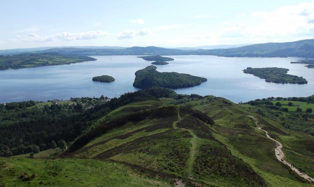 View from the summit of Conic Hill over Loch Lomond. Photo by Bianca Sala
