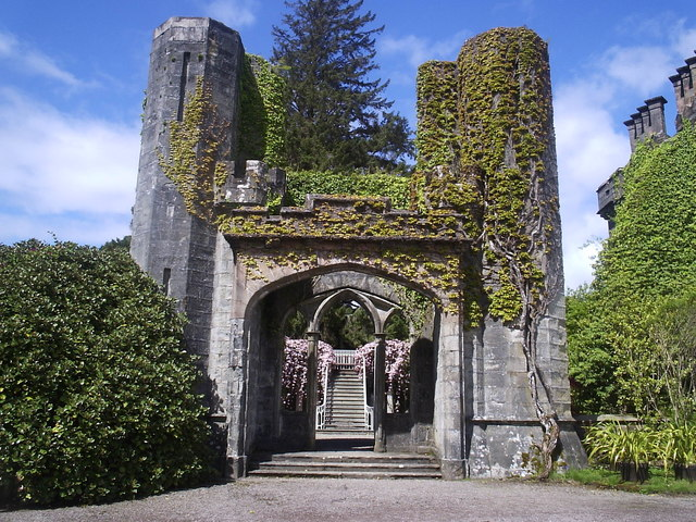 Armadale Castle 's once grand entrance. All that remains of the MacDonald of the Isles ancestral lands.