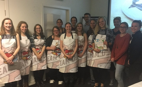 Our 2017 Bakers modelling their Bake Off Aprons
