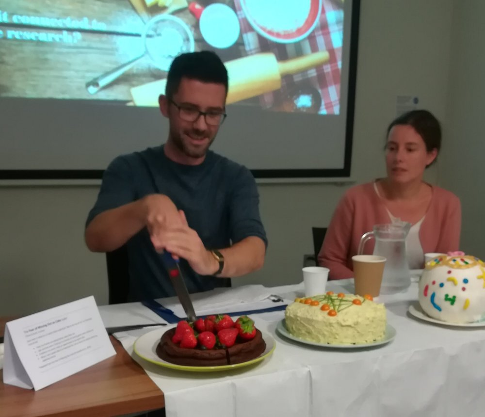 Dr Scott Ramsay and Dr Emilie Combet begin the challenge of judging this year's research bakes