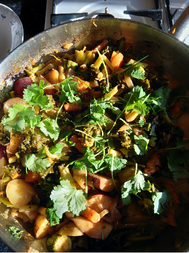 Delicious curry made using some PGR Garden vegetables Image- Elizabeth Adams