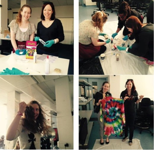 Clockwise from top left: 1. Getting the tie dye ready, 2. Claire, Julia and Monifa getting creative with colours, 3. Playing about with the Van de Graaf machine, 4. The finished product! a tie dye garment.