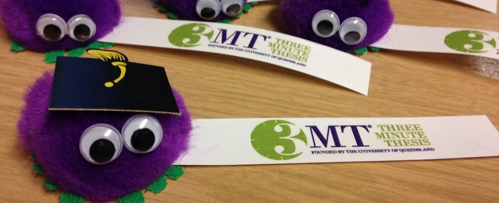 Three Minute Thesis fuzzy purple bugs with mortar board hats