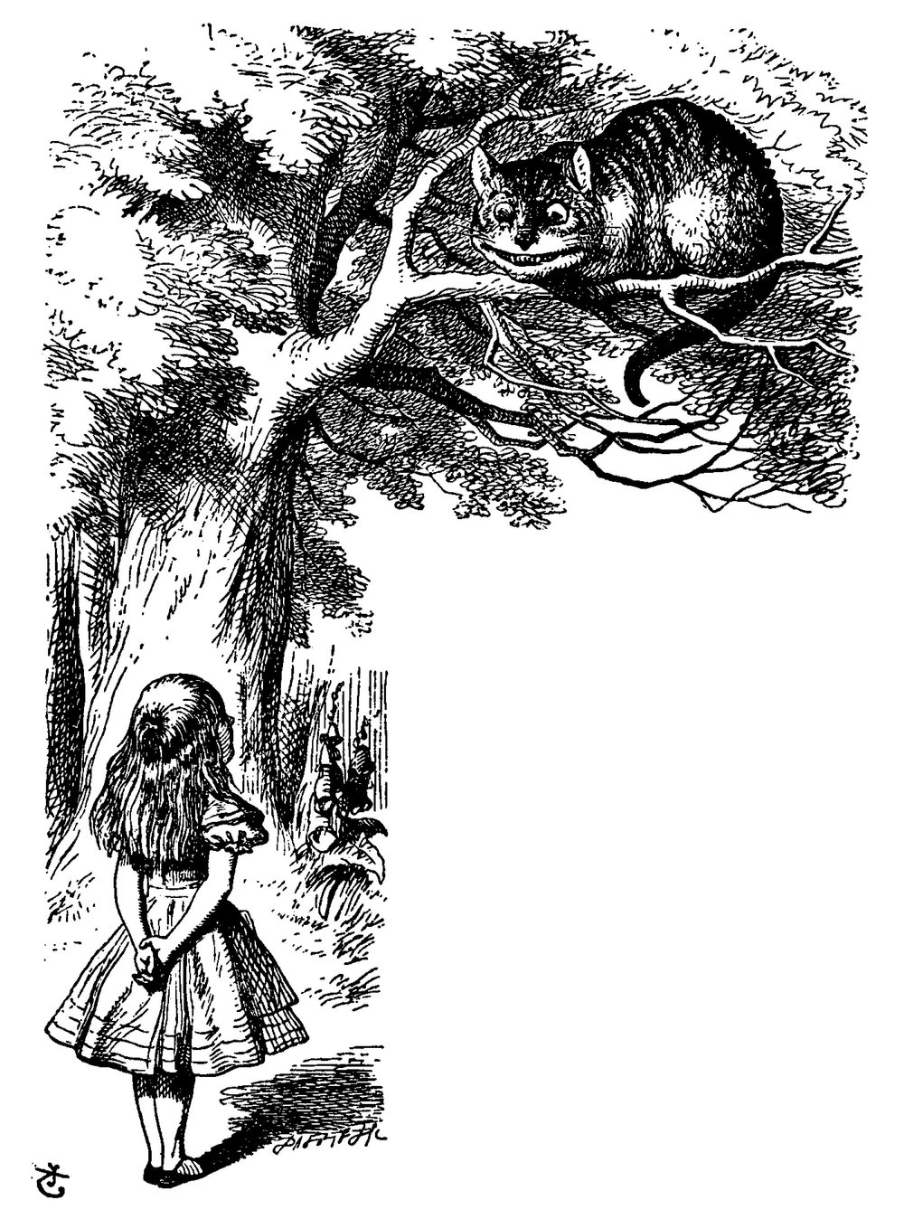Illustration by John Tenniel from Alice's Adventures in Wonderland. Alice is pictures with her back towards the reader, looking up at the Cheshire cat who is perched high in a tree top, grinning.