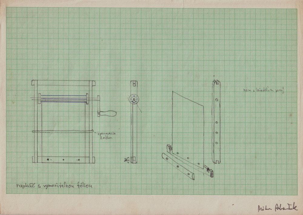 1971, Rapkáč s fóliou, technický návrh nástroja, kresba, 21x29,5 cm