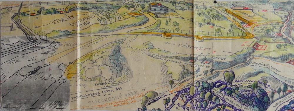 1980-te, ZOO výbehy, kresba, 52,5x19,5 cm