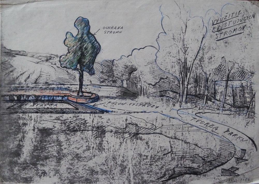 1984, ZOO Ochrana stromu, kombinovaná technika na papieri, 21x29,5 cm