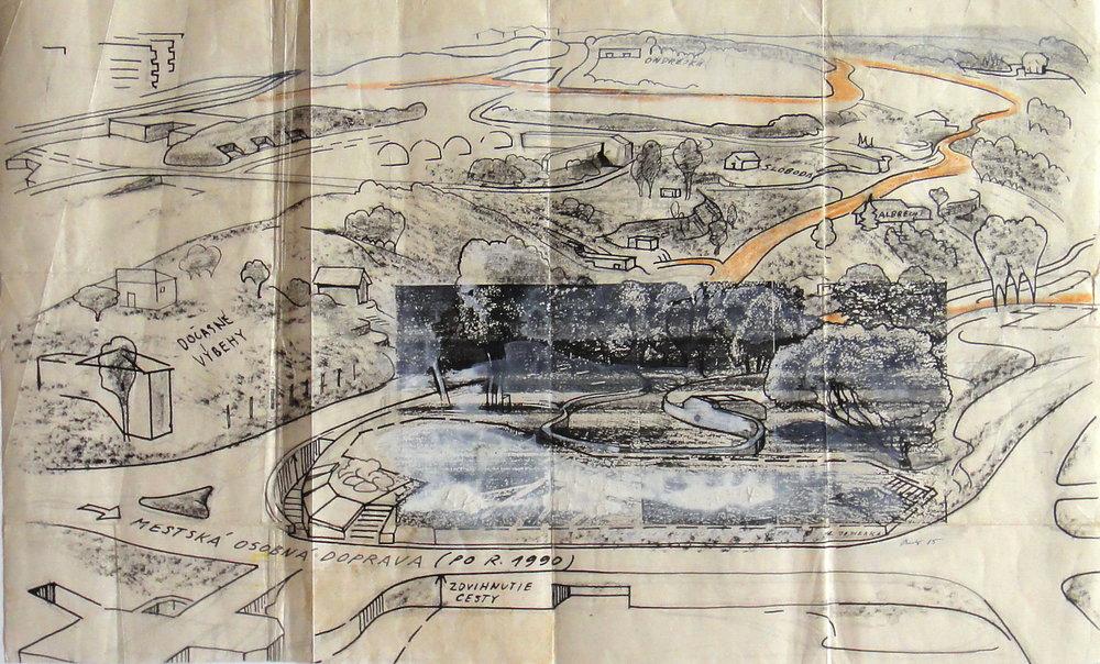 1985, ZOO Návrh jazierka, realizovaný, kresba, 42x26 cm