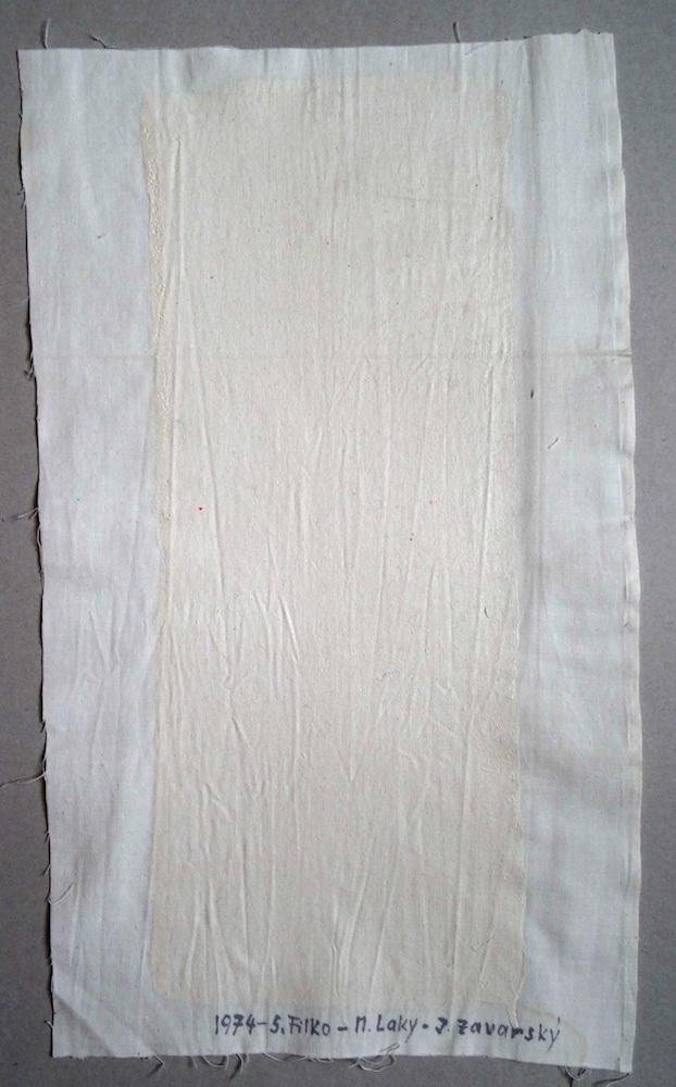 1974, Biely priestor v bielom priestore, olej na plátne, 57 x 31 cm, spolu s M. Lakym a J. Zavarským