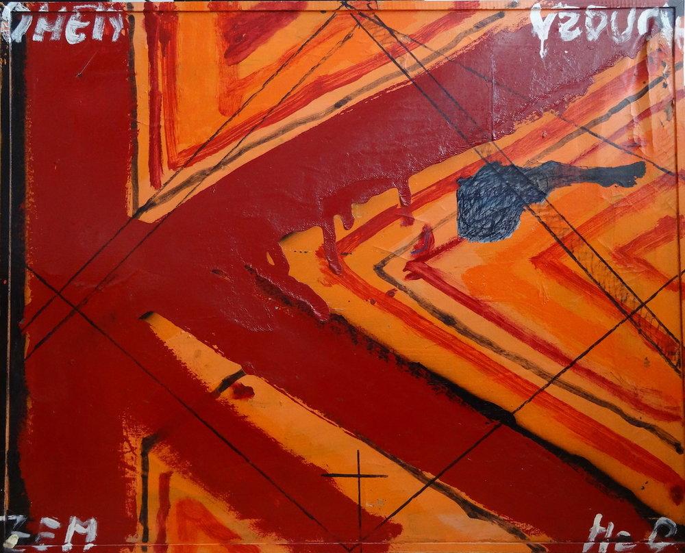 1984 - 93, Politican Manipulate, obojstranná maľba, komb tech, 85x105 cm, strana 1