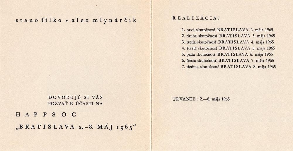 1965, Happsoc I, tlač na papieri, 15x30 cm, spolu s A. Mlynárčikom a Z. Kostrovou