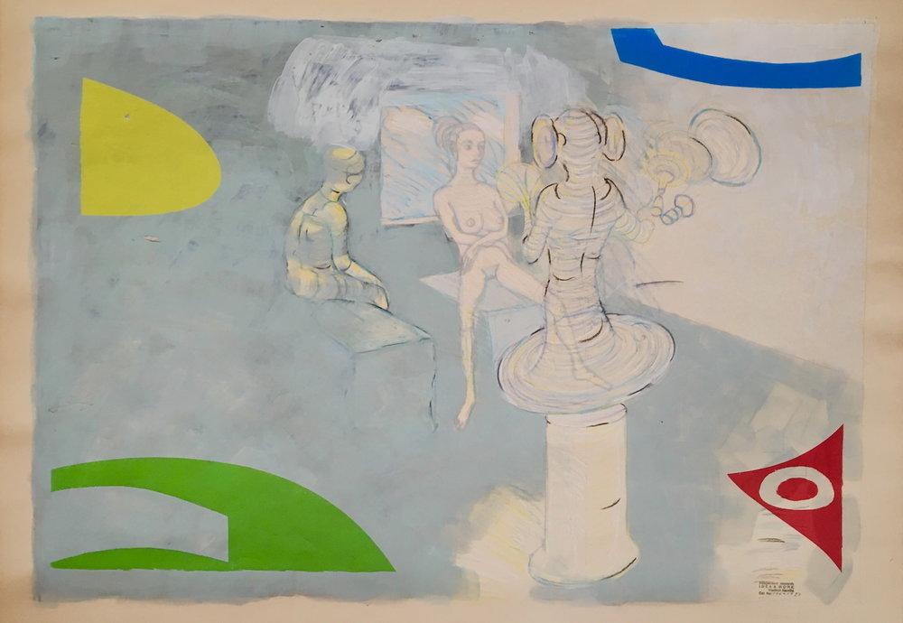 1969 - 1986, bez názvu, komb technika na papieri, 70x100 cm