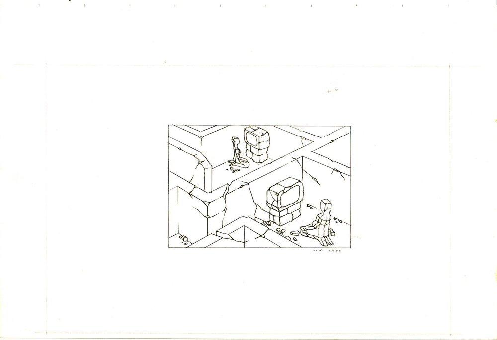 1981, Labyrint, kresba na papieri, 29,5x21 cm