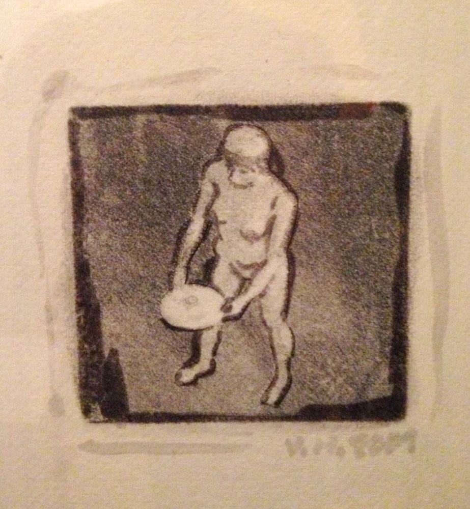 2001, Sochárka so sochou, pc tlač, 13x13 cm