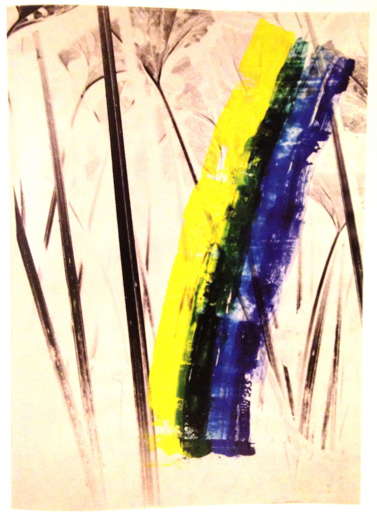 1982, Ateliér v prírode, maľba na fotografii, 100x70 cm
