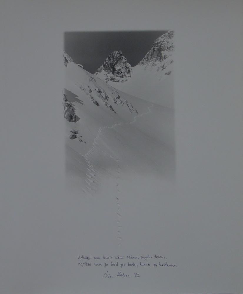 1982, Vytvoril som líniu, perforácie na serigrafii, 57,5x49 cm