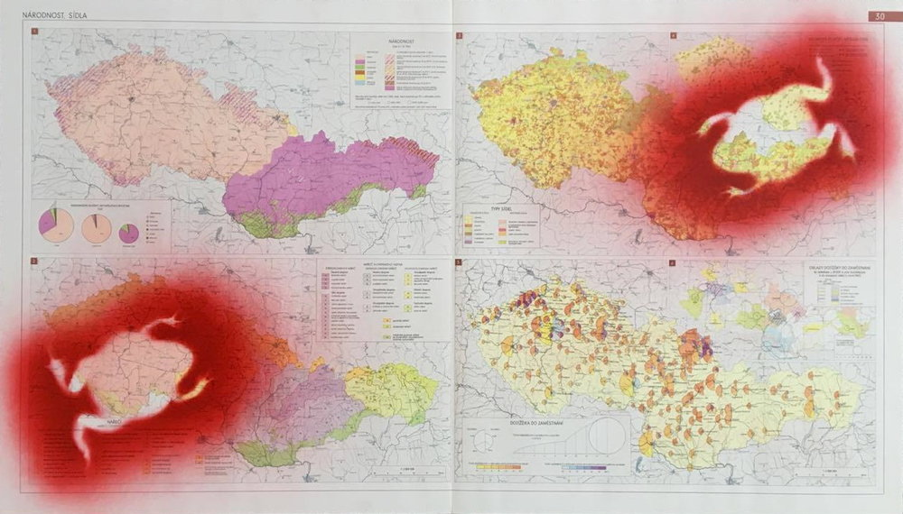 1993, Žaby na prameni, airbrush na mape, 50x86,5 cm