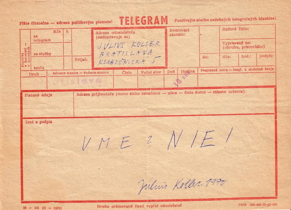 1970, umeNIE, Telegram, pre I. otvorený ateliér, 15x21 cm