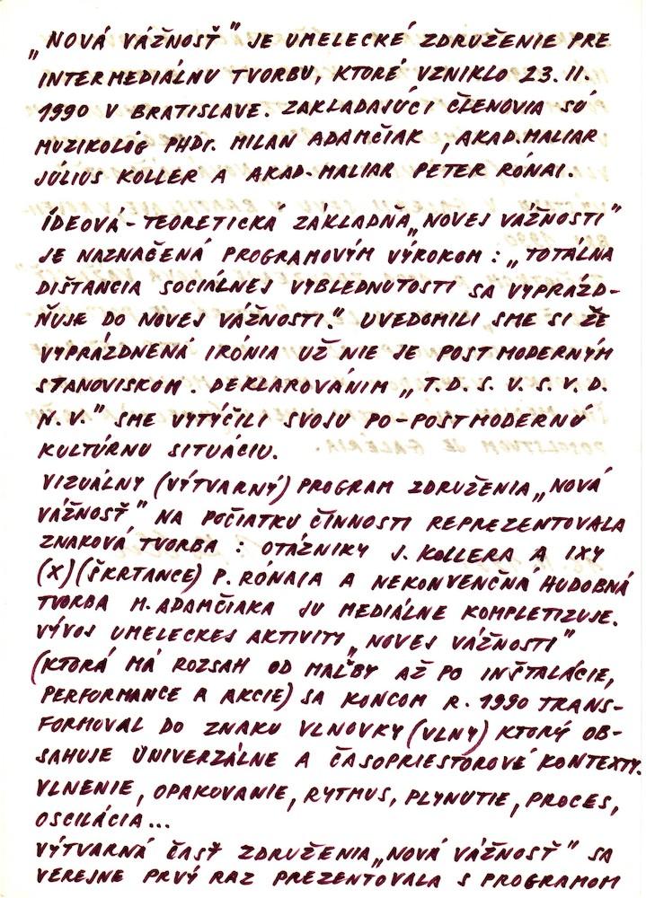 1990, Nová vážnost - manifest, fixka, 21x29,5 cm