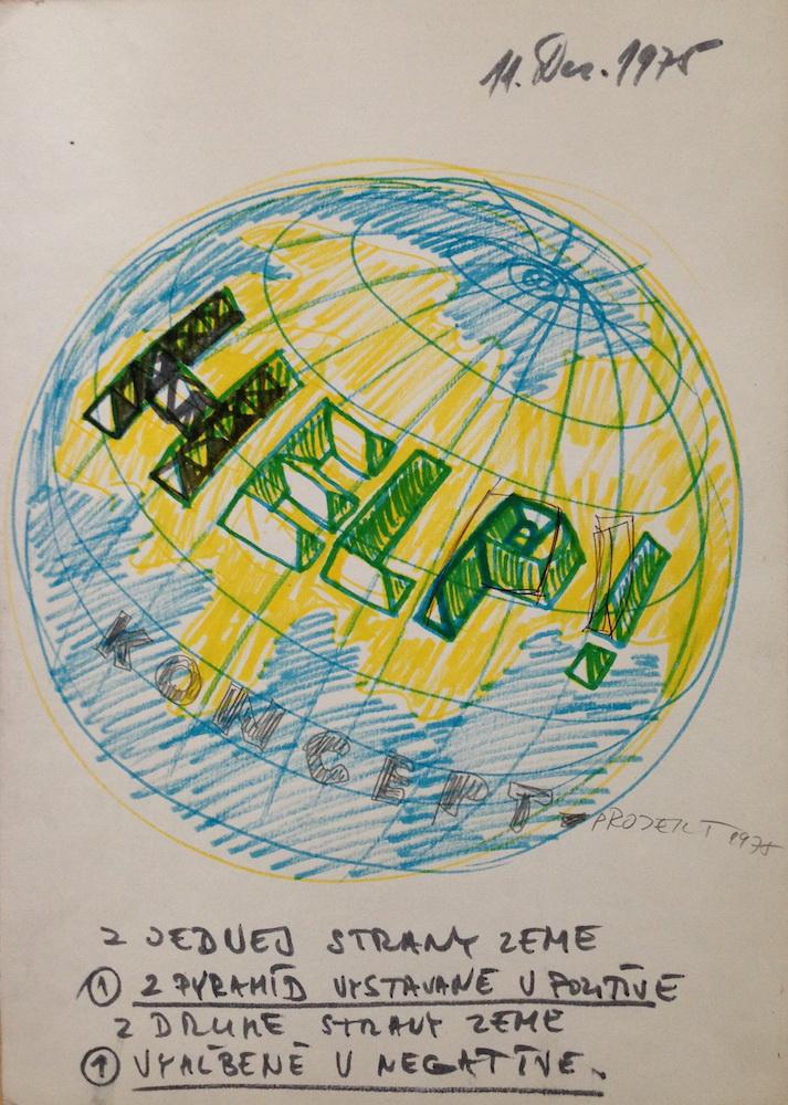1975, koncept HELP, kresba, 41x29,5 cm