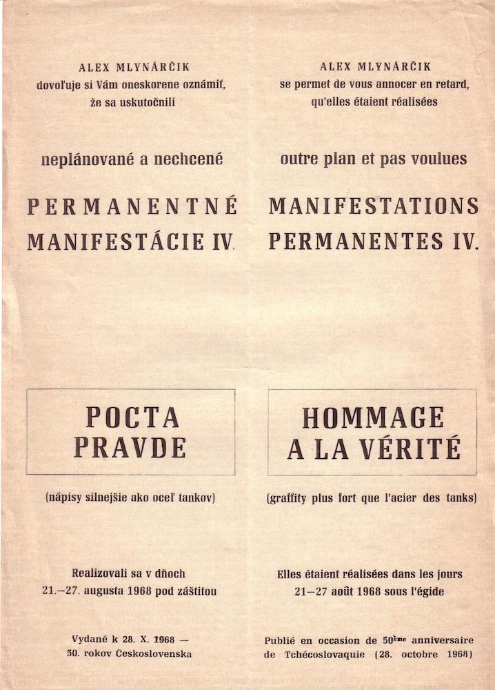 1968, Pocta pravde, Permanentné manifestácieIV., tlač na papieri, 29,5 x 21 cm