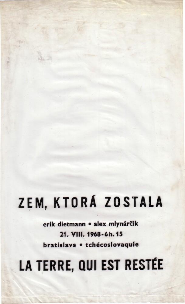 1968, Zem ktorá zostala, tlač na igelite, z akcie s Ericom Dietmanom, 21 x 15 cm
