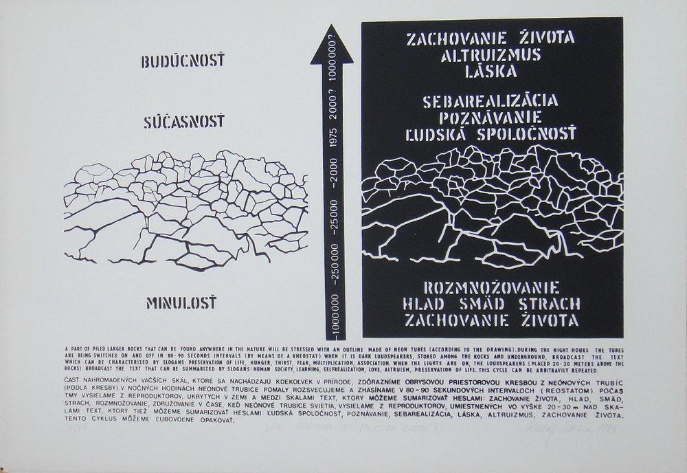 1974, Čas... priestor VI., serigrafia, číslo 58/65, 50x70 cm