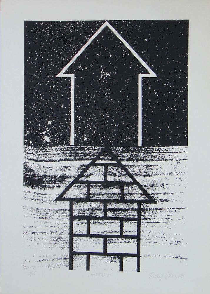 1975, Habitat II., serigrafia, číslo 29/65, 50x70 cm