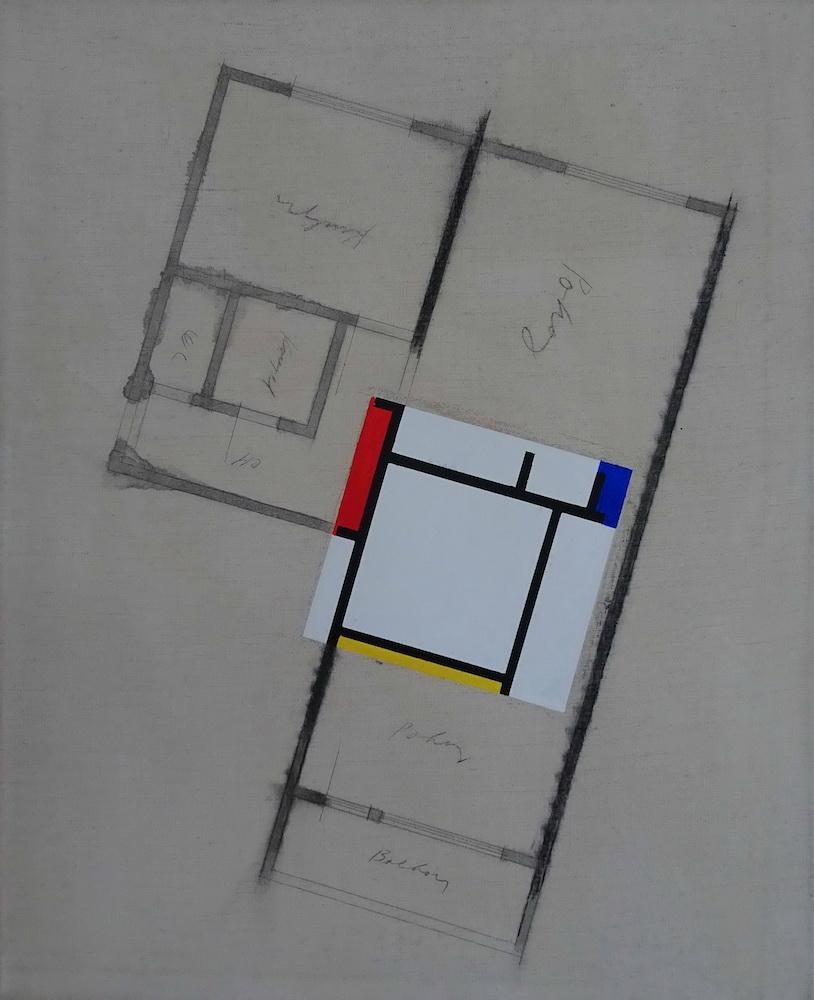 2000, Núdzový únik pre M. Šiguta, akryl na plátne, 79,5x62 cm