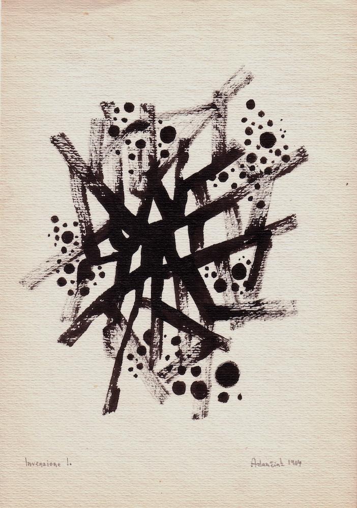 1964, Invenzione I, tuš na papieri, 30x21