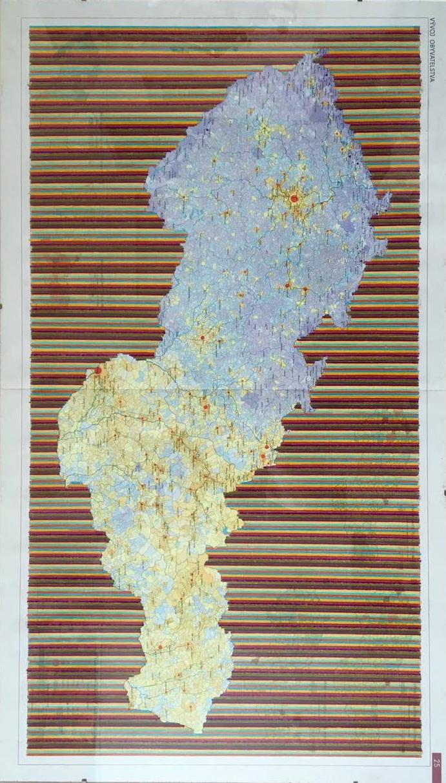 Kalmus Peter, 2005, z cyklu Methexis a Parusia, kresba na mape, 50x 86,5.jpg