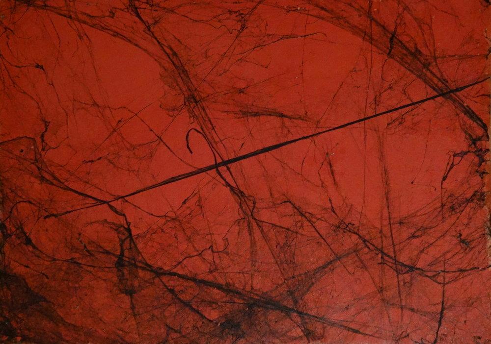 Kalmus Peter, 1989, z plynúceho cyklu, pavučiny na lepenke, 50x70.jpg
