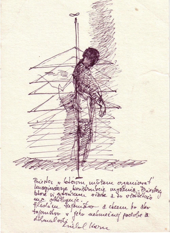 Kern Michal, 1977, Vymedzenie priestoru, koncept, kresba, 22,3x16.jpg